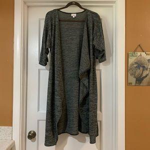 LuLaRoe small Shirley kimono shrug knit grey black